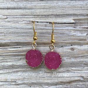 Gold Druzy Stone Dangle Earrings